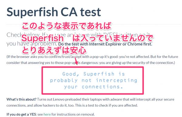 Superfishが入っているかどうかを調べる